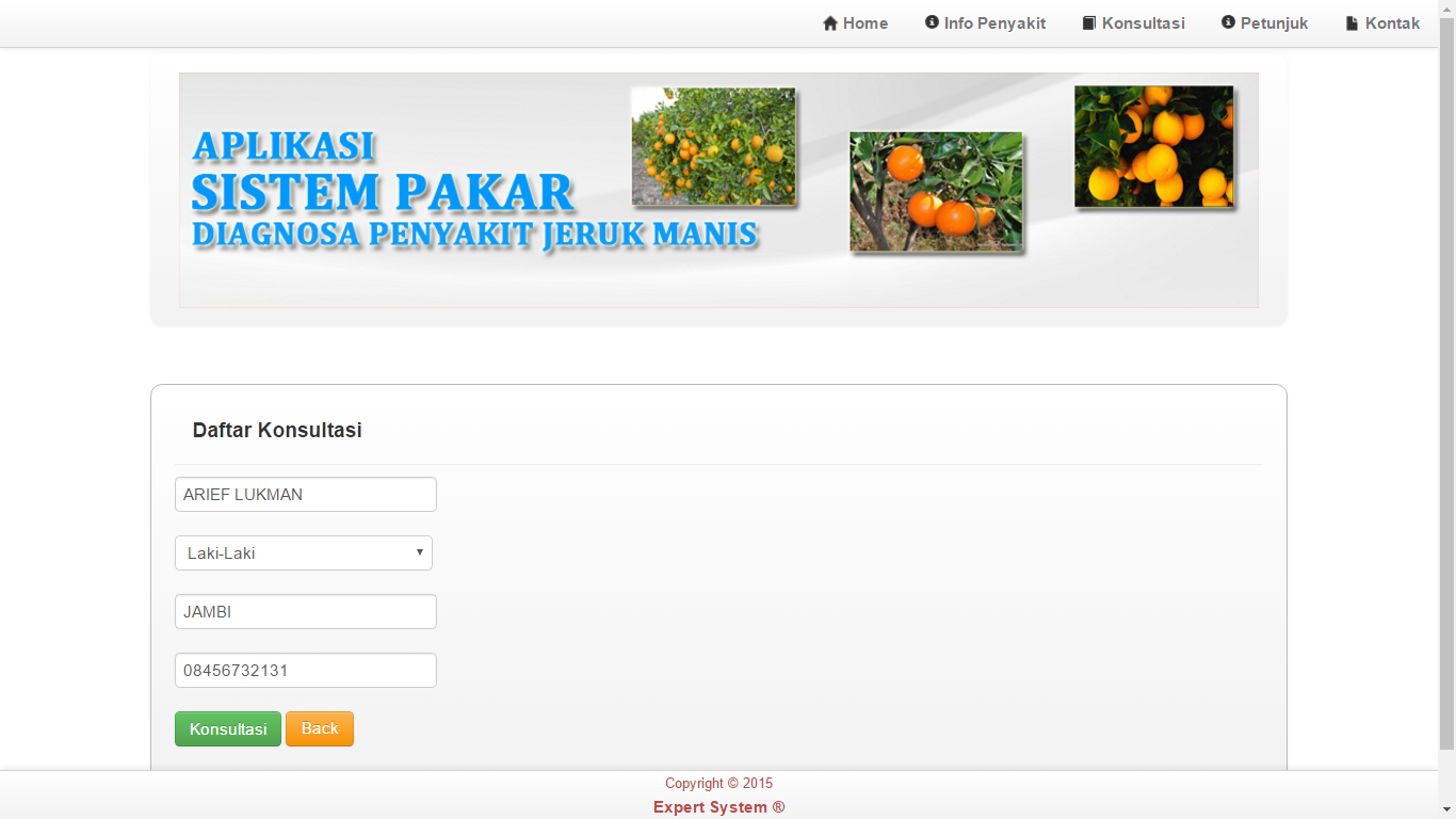 Download  Source Code Aplikasi Sistem Pakar Diagnosa Penyakit Jeruk Manis