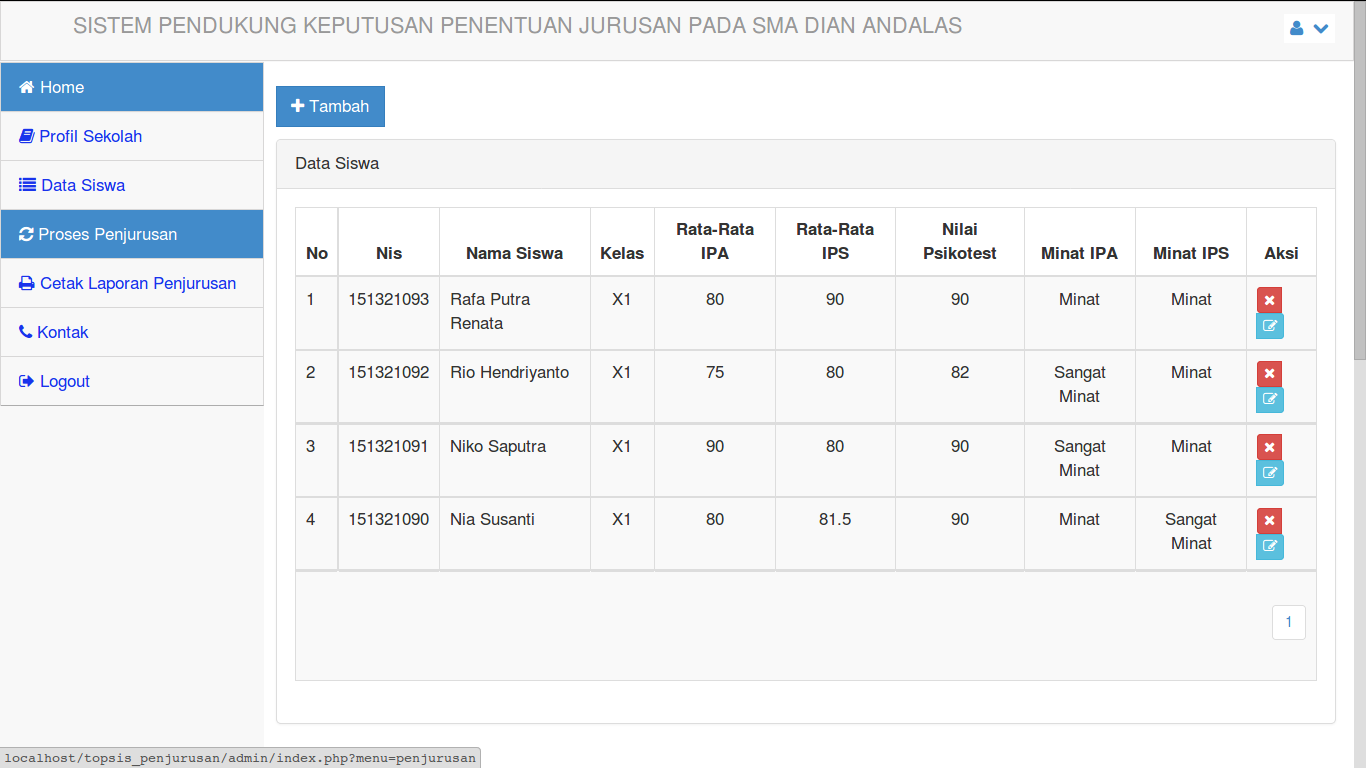 Download Source Code Aplikasi SPK Penentuan Jurusan Metode Topsis