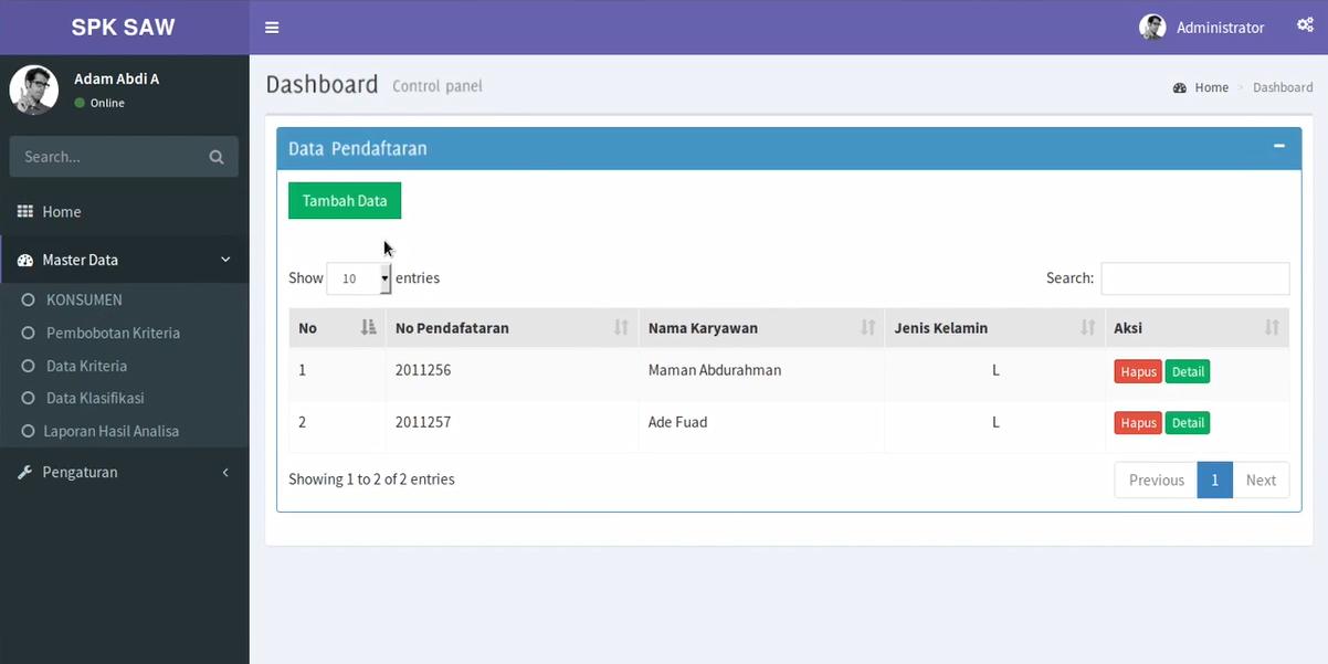 Download Source Code Aplikasi Spk Metode Saw Menentukan Karyawan Terbaik