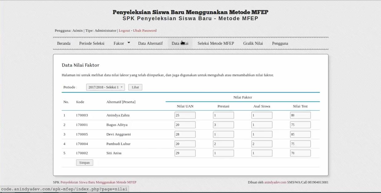 Download Source Code Aplikasi Penyeleksian Siswa Baru Menggunakan Metode MFEP