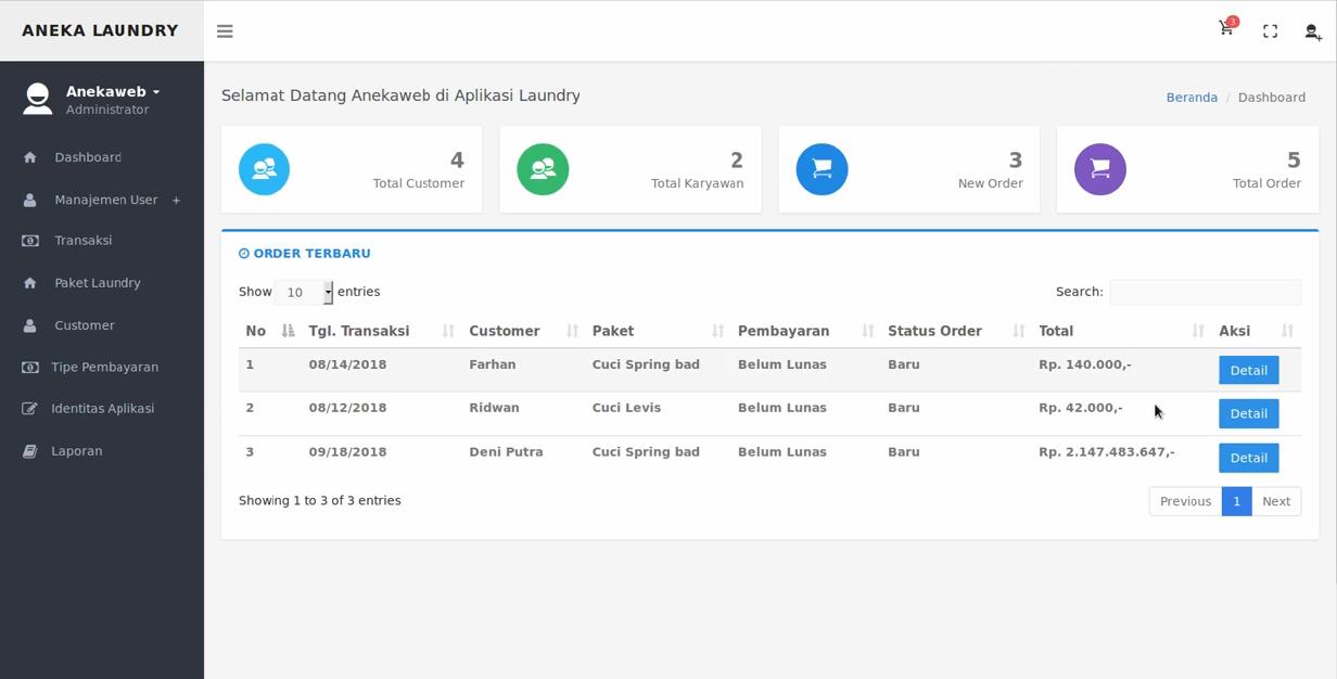 Download Source Code Aplikasi Manajemen Jasa Laudry Berbasis Web